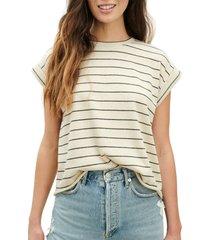 women's splendid eco stripe short sleeve sweatshirt, size x-large - beige