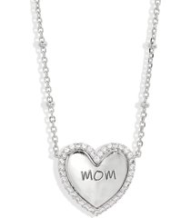 nadri mom engraved heart pendant necklace in rhodium at nordstrom