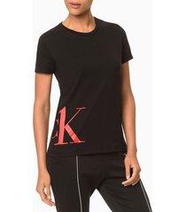 camiseta feminina meia malha ck one camo - preto - s