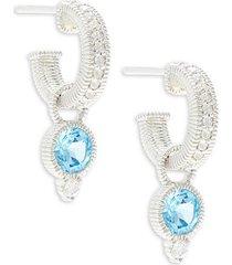 sterling silver, swiss blue & white topaz charm hoop earrings