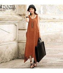 zanzea gran tamaño vestidos mujeres sueltan el partido irregular sin mangas vestido holgado de los vestidos de verano informal largo de la vendimia maxi -naranja