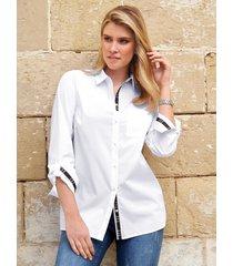 blouse met overhemdkraag en zijsplitten van anna aura wit