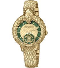 roberto cavalli by franck muller women's swiss quartz gold-tone stainless steel bracelet watch, 34mm