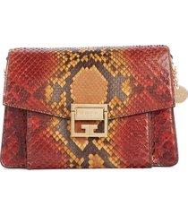 givenchy small gv3 genuine python shoulder bag - orange