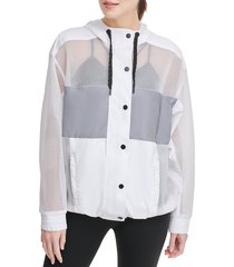 dkny sport women's hooded mesh jacket - white - size m