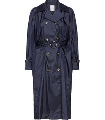 karin trench coat trenchcoat lange jas blauw wood wood