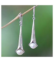 cultured pearl dangle earrings, 'trumpet flower' (indonesia)