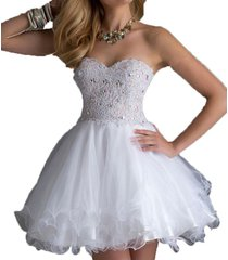 dislax sweetheart lace beading tulle short homecoming dresses cocktail dress whi