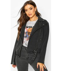 belted denim biker jacket, washed black