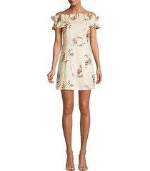 ivie embroidered off-the-shoulder dress