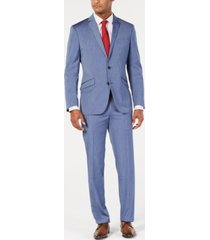 kenneth cole reaction men's big & tall techni-cole slim-fit stretch denim blue sharkskin suit
