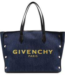 givenchy denim logo tote bag - blue