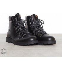 selected homme slhisaac leather hiking boot w kängor svart