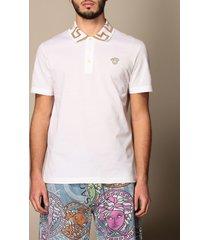 versace polo shirt versace cotton pique polo shirt with greek lurex