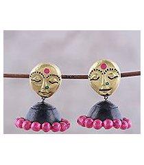 ceramic dangle earrings, 'golden ladies' (india)