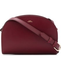 a.p.c. demi lune crossbody bag in boreaux leather