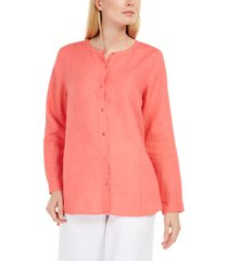 eileen fisher organic linen collarless shirt, regular & petite sizes