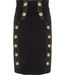 balmain embossed-buttons fitted skirt - black