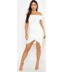 bodycon-jurk met blote schouder en wikkelstijl, wit