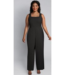lane bryant women's lena square-neck jumpsuit 26p black