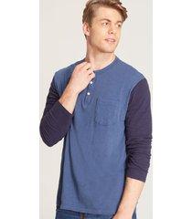 camiseta contraste manga larga azul s