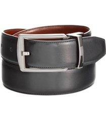 perry ellis portfolio men's leather men's leather reversible feather stitch-edge belt