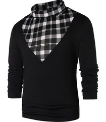 checked panel turtle neck t-shirt