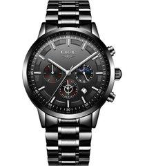 reloj cuarzo deportivo hombre lujo negocios lige 9877 negro