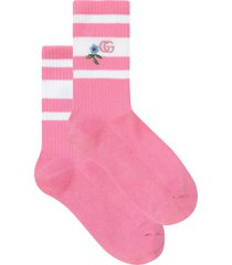 gucci embroidered gg knitted socks - pink