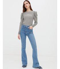 motivi jeans flare con tasche donna blu