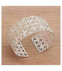 sterling silver filigree cuff bracelet, 'song of java' (indonesia)