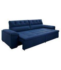 sofá 5 lugares retrátil e reclinável penedo veludo azul marinho 290 cm