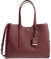 boss taylor leather business tote - red