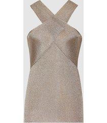 reiss imogen - metallic halter neck top in silver, womens, size xxl