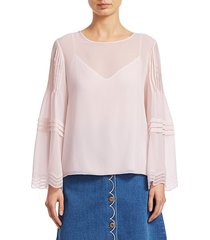 chloé women's georgette long-sleeve blouse - pink - size 34 (2)