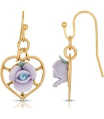 2028 14k gold-dipped heart and porcelain rose earrings