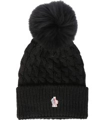 moncler logo patched woven beanie