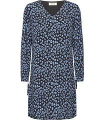 fidel short print dress kort klänning blå modström