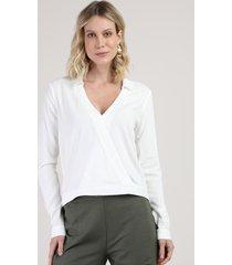 blusa feminina ampla transpassada manga longa decote v branca