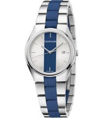 calvin klein women's contrast stainless steel and blue silicone bracelet watch 34mm