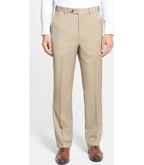 men's berle self sizer waist flat front classic fit wool dress pants, size 38 x - beige