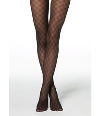 calzedonia - diamond-patterned tulle effect tights, s/m, black, women
