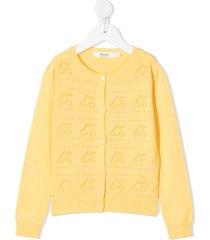 bonpoint open-knit cherry cardigan - yellow