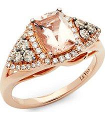 14k strawberry peach morganite vanilla diamonds and chocolate diamonds square chocolatier ring