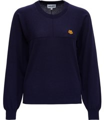 kenzo jersey sweater with logo patch