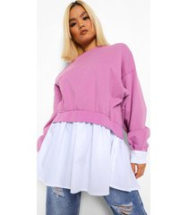 petite 2-in-1 sweater met blouse detail, lilac