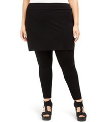 eileen fisher system plus size stretch jersey knit skirted leggings, created for macy's