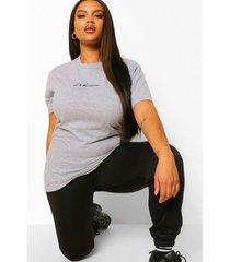 plus woman embroidered boyfriend t-shirt, grey marl