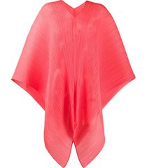 pleats please issey miyake pleated oversized scarf - red