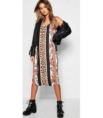 luipaardprint midi blouse jurk met streep, zwart